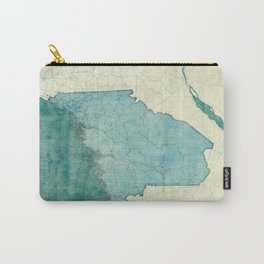Maine State Map Blue Vintage Carry-All Pouch