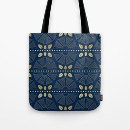 Navy & Gold Art Deco Fans Tote Bag