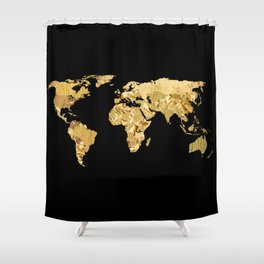 The World is Golden Shower Curtain
