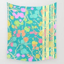Bright Cherry Blossom Stripe Wall Tapestry
