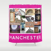manchester Shower Curtains featuring Manchester 2 by PiecesofEngland