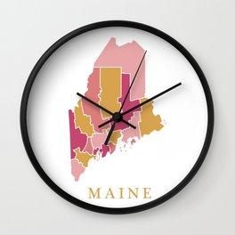 Maine map Wall Clock