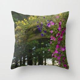 Alaskan Bridge of Flowers on a Summer Day Throw Pillow