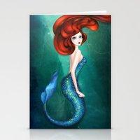mermaid Stationery Cards featuring Mermaid by Annya Kai