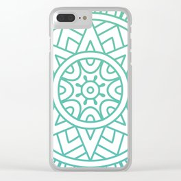 Green Floral Pattern Clear iPhone Case