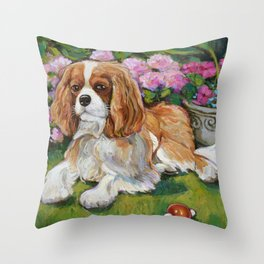 Cavalier King Charles Spaniel in the Garden Painting Throw Pillow