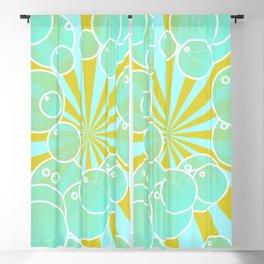 Aqua bubbly art Blackout Curtain