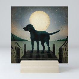 Black Dog Labrador Lake Dock Moon Cottage Cabin Mini Art Print