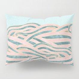 Venetian Waves // Vintage Abstract Pink Blue and Gold Summer Illustration Digital Beach Wall Decor Pillow Sham