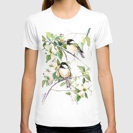 Chickadees and Dogwood Flowers T-shirt