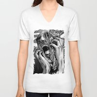 scream V-neck T-shirts featuring scream by Teenn