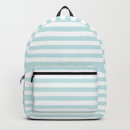 Duck Egg Pale Aqua Blue and White Wide Thin Horizontal Deck Chair Stripe Backpack