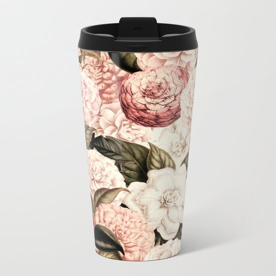 Vintage & Shabby floral camellia flowers watercolor pattern Metal Travel Mug