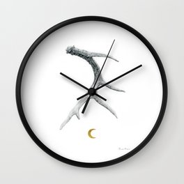 Moon Shed - Deer Antler Drawing w/ Golden Crescent Moon by Artist Brooke Figer Wall Clock
