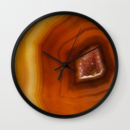 Orange Burnt Red Geode Raw Stone Crystal Agate Boho Hippie Fine Art  Print Wall Clock