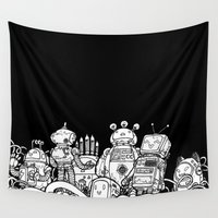 robots Wall Tapestries featuring Tiny robots by Pascale Lamoureux-Miron