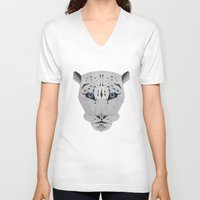 snow leopard V-neck T-shirts featuring Snow leopard by Czety