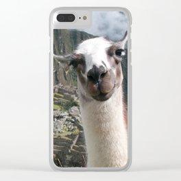 Bossy the Llama at Machu Picchu Clear iPhone Case