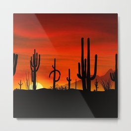Illustration of cactus tree when the sunset Metal Print