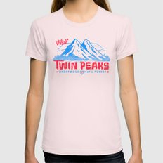 Visit Twin Peaks (hot pink) MEDIUM Womens Fitted Tee Light Pink