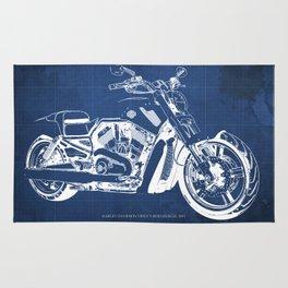 Blue motorcycle blueprint, HD VRSCF V-Rod Muscle,white line,home decor,man office, man cave decor Rug