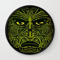maori Wall Clocks featuring Maori style 01 by Alexis Bacci Leveille
