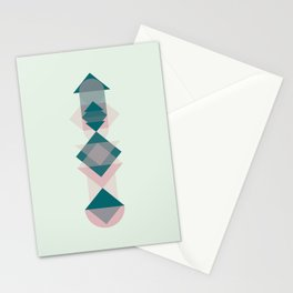Nr. 1 Geometric Totem Pole Blush Pink and Green Stationery Cards