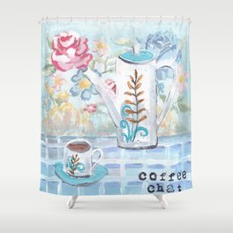 Coffee Chat Shower Curtain