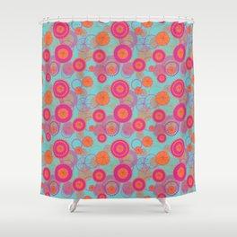 Spinning Wheels - pink & orange on aqua Shower Curtain