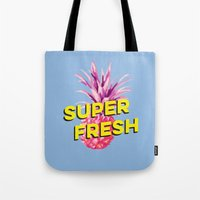 pinapple Tote Bags featuring Super Fresh by Galaxy Eyes