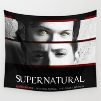 dean winchester Wall Tapestries featuring The Winchester Brothers by Sarah Sangelus