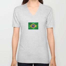 Vintage Aged and Scratched Brazilian Flag Unisex V-Neck