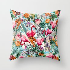 Floral and Flamingo VII pattern Throw Pillow