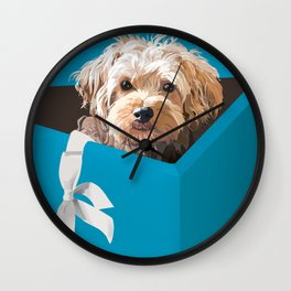 Dog in gift box Wall Clock