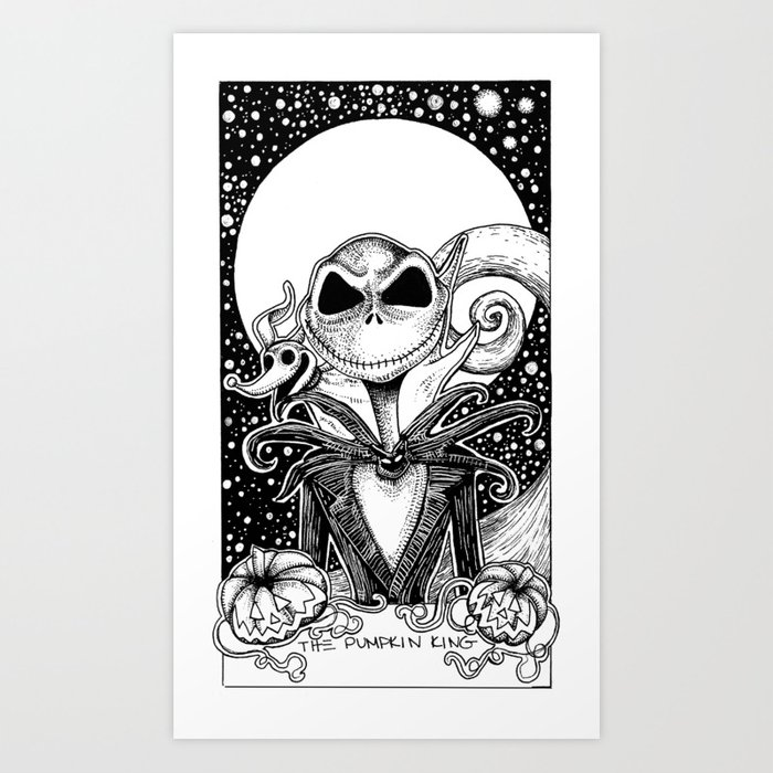 Nightmare Before Christmas Illustration.The Nightmare Before Christmas The Pumpkin King Tarot Card Black And White Art Print By Corinneelyse