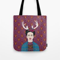 frida Tote Bags featuring DEER FRIDA by Bianca Green