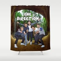 one direction Shower Curtains featuring One Direction by ezmaya