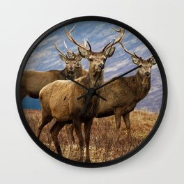 The four stags on the loch Wall Clock