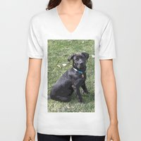 lab V-neck T-shirts featuring Black Lab by Sierra LaFrance