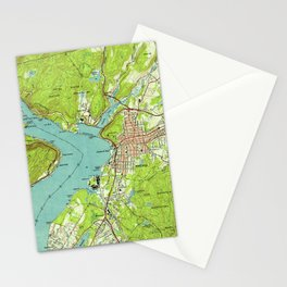 Vintage Map of Peekskill New York (1947) Stationery Cards
