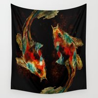 koi Wall Tapestries featuring Koi by a collection. James Peart