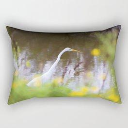 Great White Egret in the Marsh Rectangular Pillow