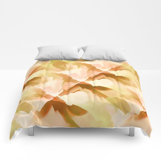 Shades Of Orange Floral Kaleidoscope Abstract Comforters