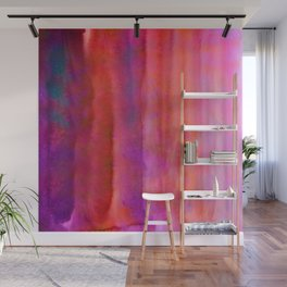 Striped Watercolor Art vibrant Red and Pink Wall Mural