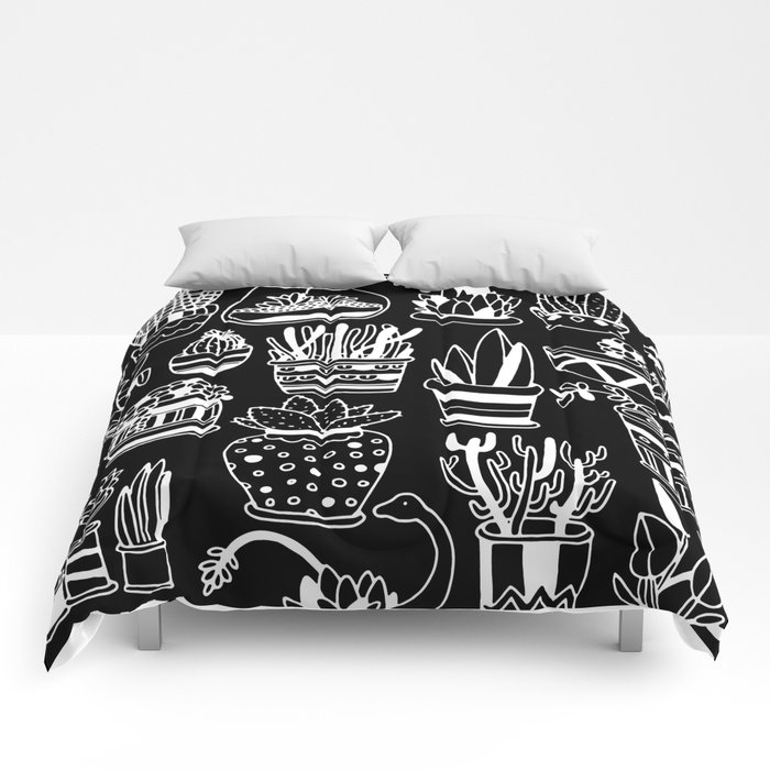 Succulent Party (Night Version) Comforters