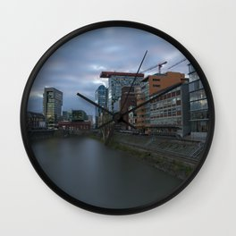 Media Harbour At Sunset Wall Clock