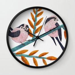 Happy Long-Tailed Tits Wall Clock