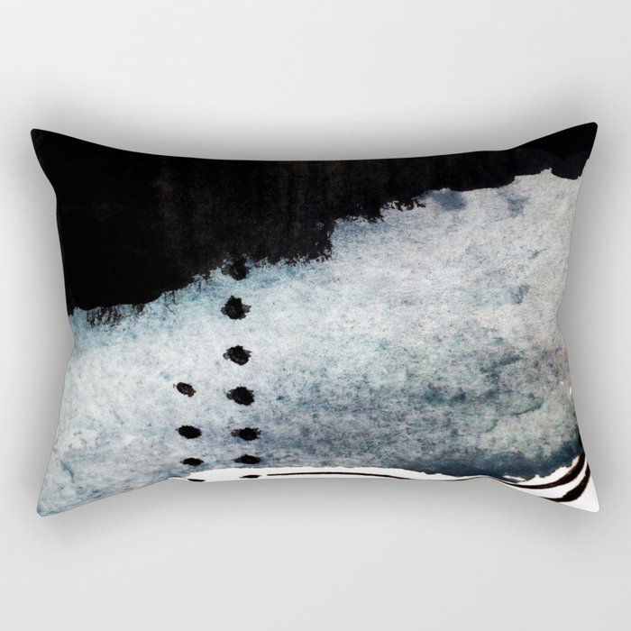 Closer - a black, blue, and white abstract piece Rectangular Pillow