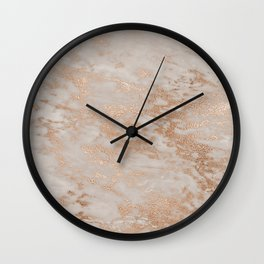 Rose Gold Copper Glitter Metal Foil Style Marble Wall Clock
