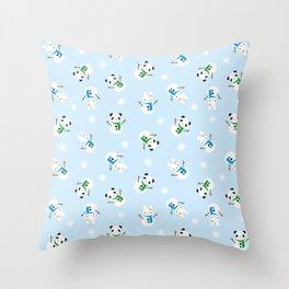 Snow Bunnies & Snow Pandas Throw Pillow